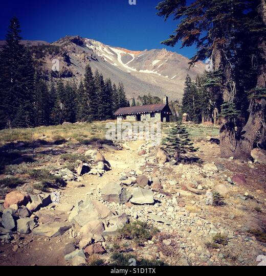 Horse Camp on Mount Shasta - Stock Image