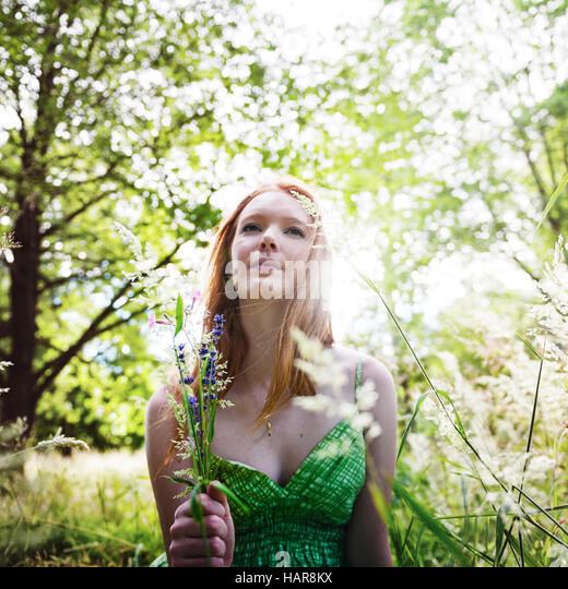 Girl Nature Minimal Outdoor Summer Teen Concept - Stock Image
