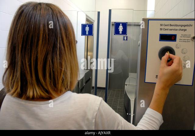 Swedish Portable Toilet : Pay to use toilets stock photos