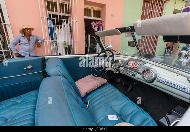 A vintage 1948 Mercury Eight American car working as a taxi, in the town of Trinidad, Cuba, West Indies, Caribbean - Stock-Bilder