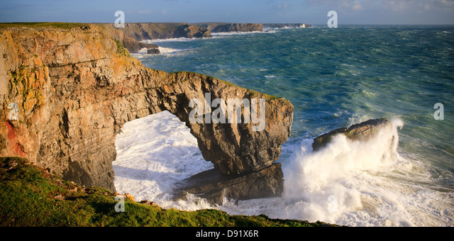 Green Bridge of Wales St Govans Headland Pembrokeshire Wales - Stock Image