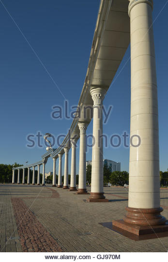 The Colonnade in front of the Central square (Mustakillik), where there are celebrations and military parades - Stock Image