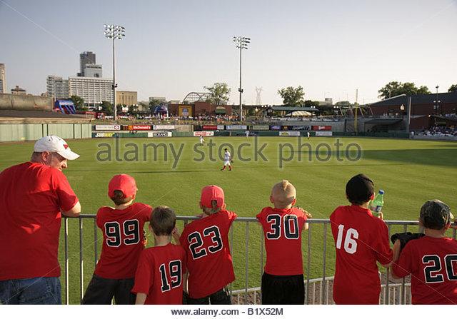 Arkansas North Little Rock Dickey Stephens Park minor league baseball Arkansas Travelers man boy father son stadium - Stock Image