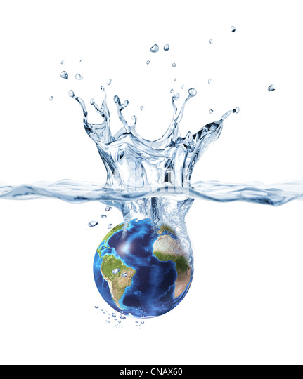 Planet Earth, falling into clear water, forming a crown splash. - Stock Image