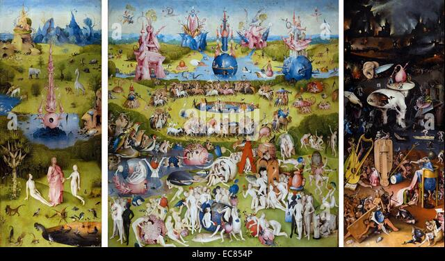 Painting titled 'The Garden of Earthly Delights' - Stock Image