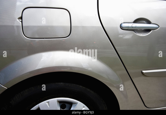 Side of car, view of gas tank - Stock Image