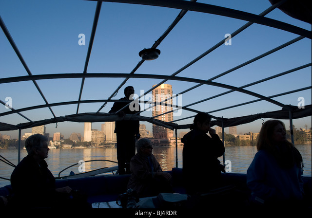 Photos taken on the Nile River on a sunrise Felucca cruise. - Stock Image