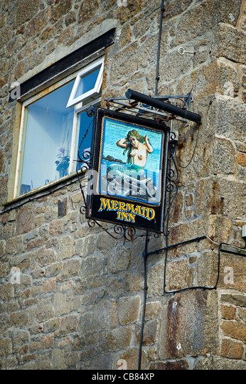 The Mermaid Inn Public House sign, St Mary's Quay, Isles of Scilly. - Stock Image