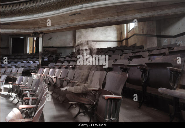 Derby CT USA-- Some allege that the Sterling Opera House in Derby is haunted by ghosts. Patti Villars as a ghost - Stock Image