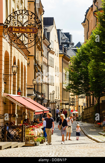 Street in Gamla Stan (Old Town) Stockholm Sweden - Stock Image