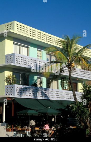 Miami Florida FL South Beach Classic Art Deco Architecture Ocean Drive yellow purple and green building - Stock Image
