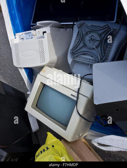 A pile of discarded CRT computer monitors waiting to be recycled at a depot in Burnaby, BC, Canada - Stock Image