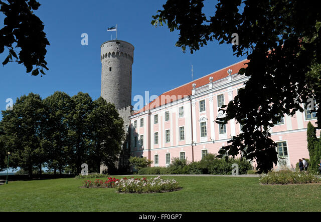 The Estonian Parliament (Riigíkogu) building on Toompea Hill, Tallinn, Estonia. - Stock Image