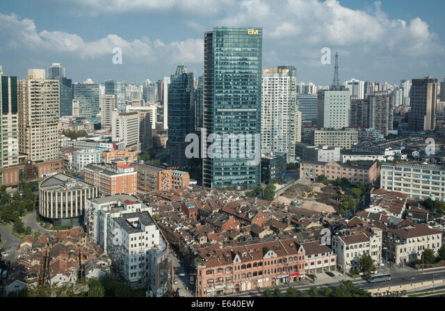 Traditional and modern districts, Shanghai, China - Stock Image