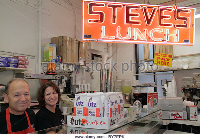 Baltimore Maryland Federal Hill neighborhood Cross Street Market Steve's Lunch family business sandwich shop - Stock Image