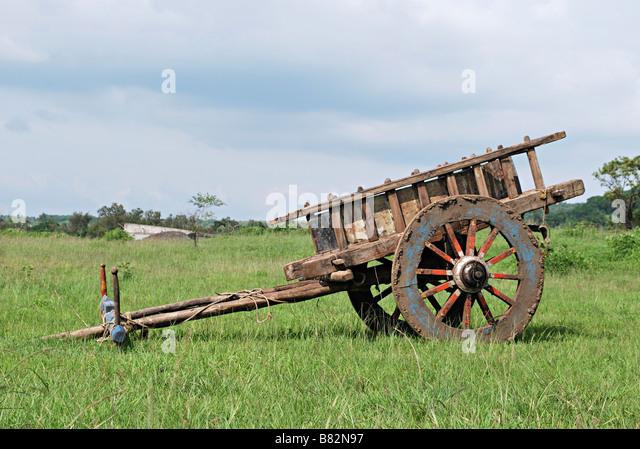 Bullock cart without bulls parked in farm. Khanapur, Maharashtra, India. - Stock Image