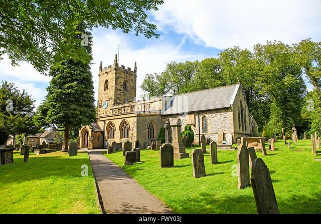 St Lawrence's parish Church Eyam Derbyshire England UK - Stock Image