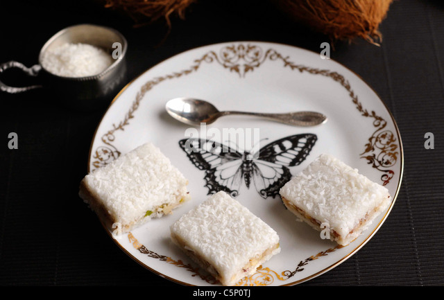 Coconut and cherry slices - Stock Image