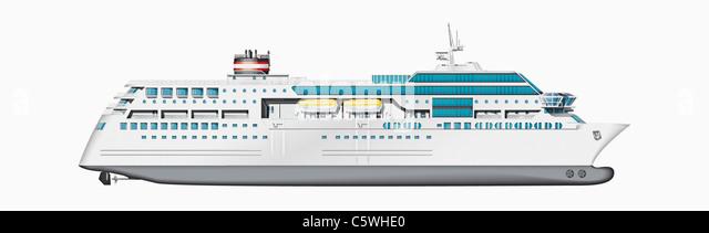 Illustration of cruise ship against white background, close up - Stock Image