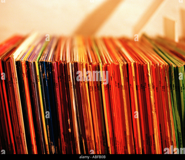 Record spines - Stock Image