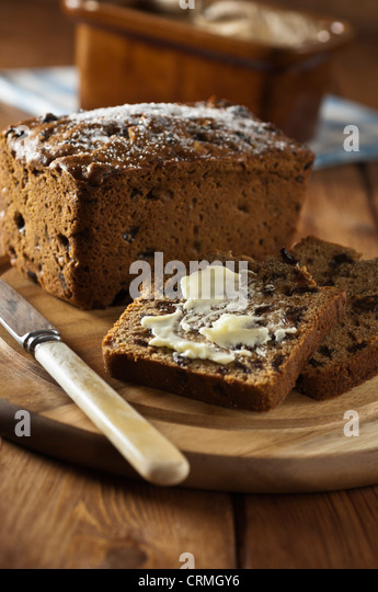 Bara brith Welsh fruit loaf Traditional food UK - Stock Image