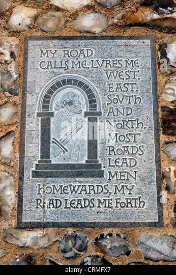 Norwich Castle Gardens - poetic plaques, Norwich, Norfolk, UK - Stock Image