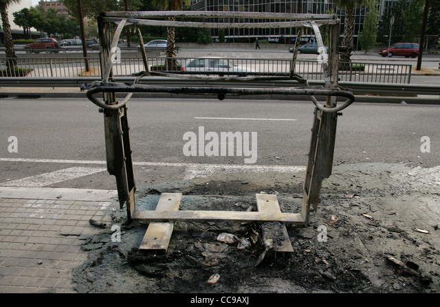Bin destroyed by fire. Barcelona. Catalonia. Spain. - Stock Image