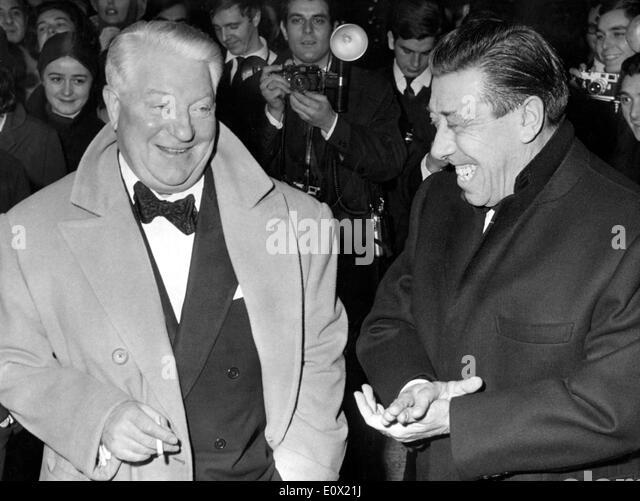 Jean Gabin with co-star Fernandel at premiere of 'The Tender Age' - Stock-Bilder