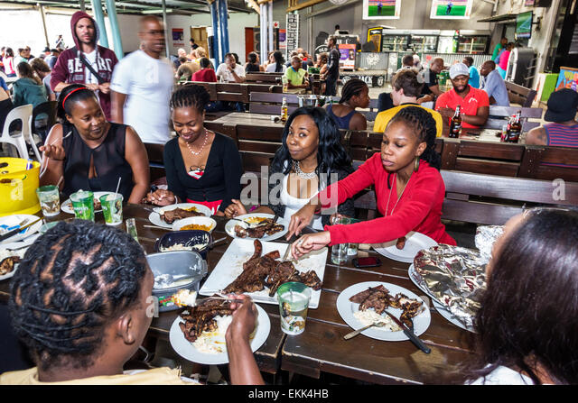 Johannesburg South Africa African Soweto Orlando Cooling Towers Chaf Pozi restaurant braai barbecue tables Black - Stock Image