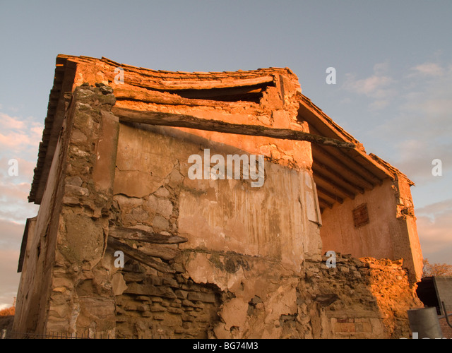 Ruined collapsed rural house, Spain - Stock Image