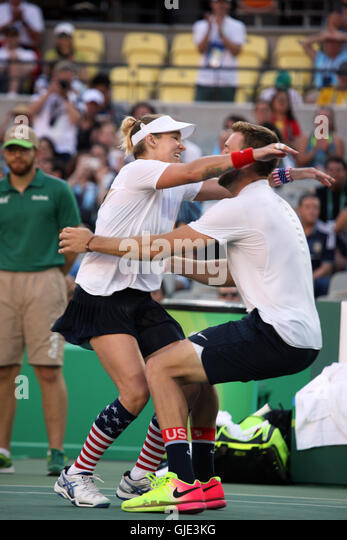 Bethanie Mattek-Sands and Jack Sock delighted at winning the Gold Medal in the Olympics Mixed Doubles Tennis Final - Stock Image