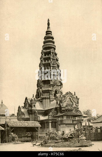 The Angkor Pagoda, Cambodia, Illustration for l'Exposition Universelle 1889 - Stock Image