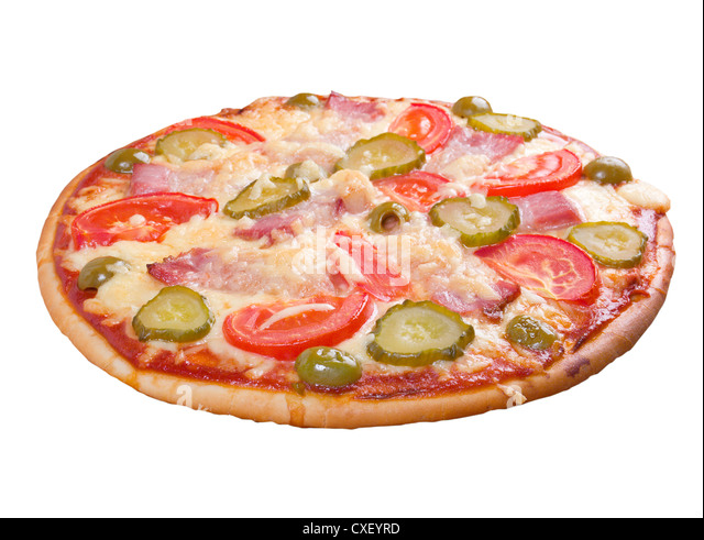 pizza ham and vegetable - Stock Image