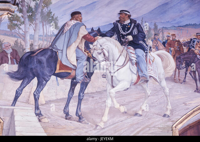 Meeting between giuseppe garibaldi and vittorio emanuele II, or teano meeting, October 26, 1860 - Stock Image