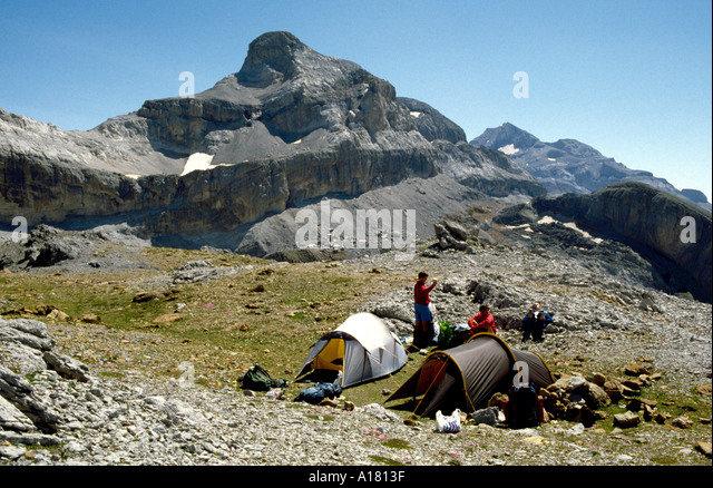 Le Casque from the Spanish side of the Brèche de Roland, Pyrenees, Spain - Stock Image