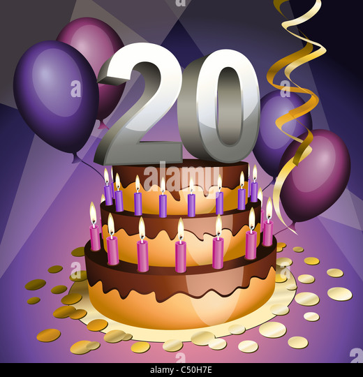 Twentieth anniversary cake with numbers, candles and balloons - Stock Image