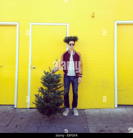 Man with a Christmas tree - Stock Image