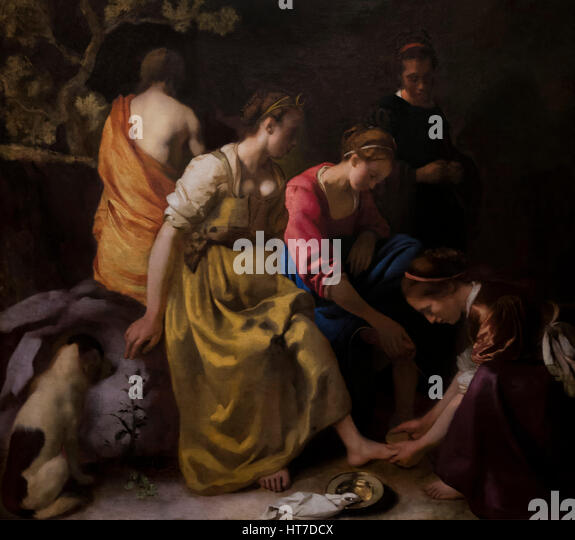 Diana and her Nymphs, by Johannes Vermeer, circa 1653, Royal Art Gallery, Mauritshuis Museum, The Hague, Netherlands, - Stock Image