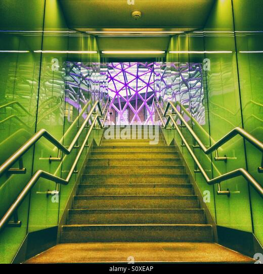 A stairwell at Kings Cross Station, London - Stock Image