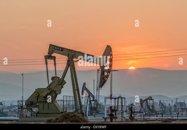Pumpjacks at the Belridge Oil Field and hydraulic fracking site which is the fourth largest oil field in California. - Stock Image