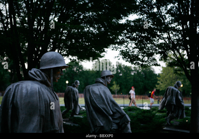 The Korean War Memorial in Washington D C during early July 2008 - Stock Image