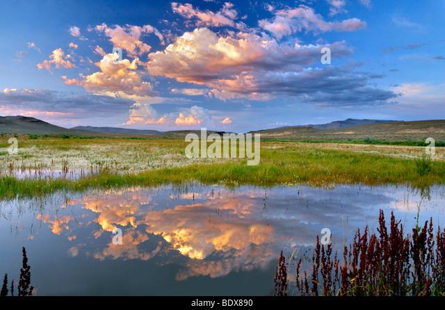 Sunset clouds over pond. Black Rock Desert National Conservation Area. Nevada - Stock-Bilder