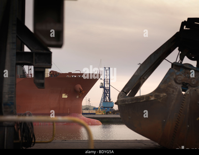 Ships & Heavy Machinery At Port - Stock Image