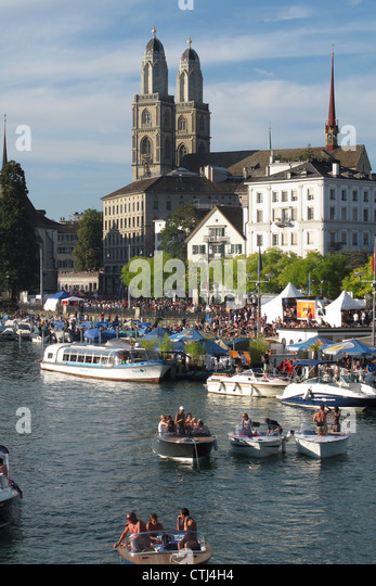 River Limmat , Boats, Zurich, Switzerland, - Stock Image