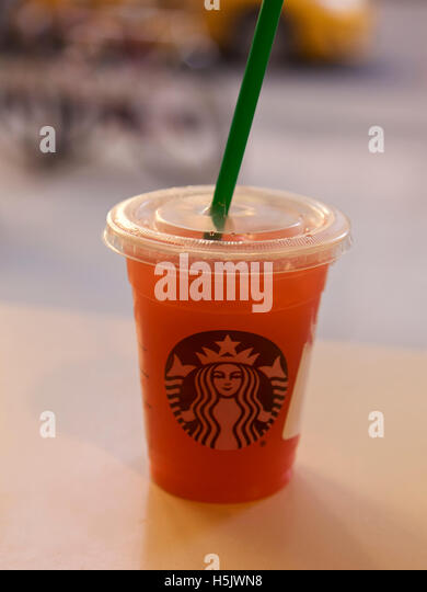 Starbucks fruit drink inside a store on April 16 2016 in New York, USA - Stock Image