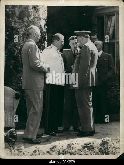 Jul 17, 1945 - Postdam, Germany - US President HARRY S. TRUMAN (L) with Russian Marshal JOSEPH STALIN (C), and British - Stock Image