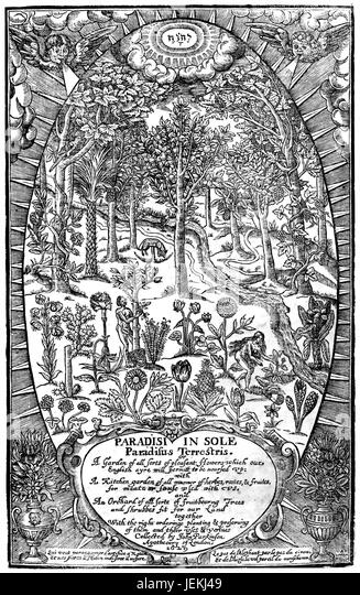 JOHN PARKINSON (1567-1650) English botanist. Title page from his 1629 book 'Paradisi in Sole Paradius Terrestris...' - Stock-Bilder