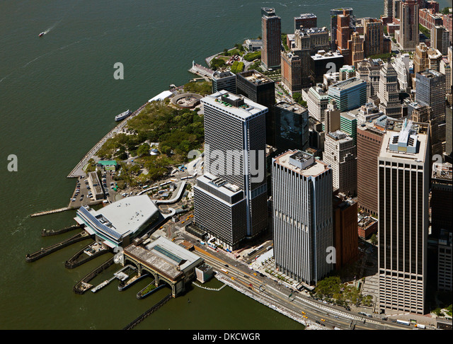 aerial photograph Whitehall Terminal South Ferry, Battery Maritime Building, New York Plaza, Lower Manhattan, New - Stock Image