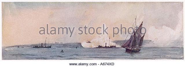 Gunboats Practising - Stock Image