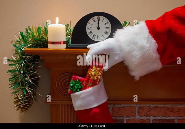 Fireplace Christmas Santa Claus Chimney Stock Photos